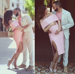 Wholesale Satin Pregnant - Little Pink Short Evening Gowns Sexy Off The Shoulder Knee Length Side Spit Prom Dresses Custom Made Pregnant Woman Formal Party Dress