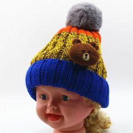 Wholesale Cartoon Character Kids Crocheted Hats - Cute Cartoon bear children's hat Girls Boys Baby Kids Crochet Knitted Beanies Caps Hats baby ear muff hat