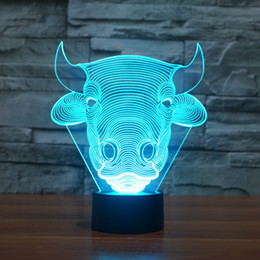 Wholesale Bull Lamp - Wholesale- USB Lampara 7Colors Changed Touch Table Lamp Bull Cow bulb lamp Baby Sleeping Lamp 3D home Decor light Desk Light Creative Gifts