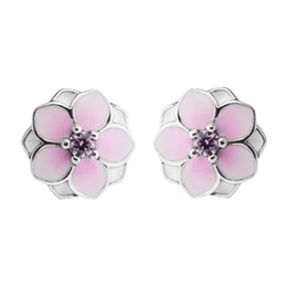 Wholesale Pink Spikes Studs - Magnolia Stud Earrings Pale Cerise Enamel & Pink CZ 2017 Spring 100% 925 Sterling Silver Earrings Authentic Fashion Jewelry DIY Charm Brand