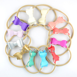 Wholesale Nylon Elastic Lace - mix color nude Color Stretchy Nylon Elastic Headbands with leather bow for Girls for infant baby base headband hair accessory