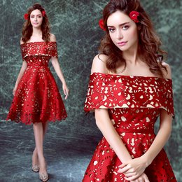 Wholesale Wedding Gown Dinner Dresses - Wine red Bride Wedding Toast short wedding dinner party wedding dress hollow out embroidery party dress