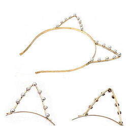 Wholesale fashion hairbands - Women Cat Ears Faux Alloy Rhinestones Alloy Headband Hairbands Fashion Girls Hair Head Bands Cute Pop Accessories