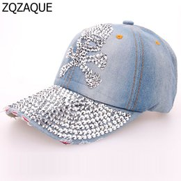 Wholesale Drilling Hat - Wholesale- 2017 Summer Shining Manual Drill Caps For Women Casual Girls Denim Baseball Caps Fashion Skull Pattern Hats Free Shipping SY571