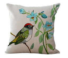 Wholesale Free Cushion Cover Patterns - Fresh Colorful Birds Pattern Pillow Case Cushion cover Linen Cotton Throw Pillowcases sofa Bed Car Decorative Pillowcover free shipping