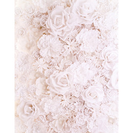 Wholesale Photography Backgrounds Backdrops - 3 D White Roses Flowers Digital Printed Floral Photography Backdrops Vinyl Cloth Baby Shower Newborn Studio Photo Shoot Backgrounds