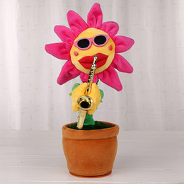 Wholesale Games Flowers - Sexy Musical Plush Flower Dancing Singing Sunflower Playing Saxophone Song 35cm Flashing Face Stuffed Plant Big Red Mouth Rotated Plush Toy