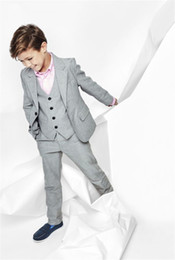 Wholesale Three Button Boys Suits - New Gray Boys Formal Wear Three Piece Notched Lapel Two Button Custom Made Kids Wedding Suits (Jacket + Pants + Vest)
