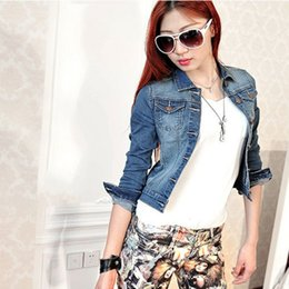 Wholesale Denim Jean Jacket Coat - Wholesale- Vintage Women Long Sleeve Coat Slim Denim Short Casual Jean Jacket Outerwear