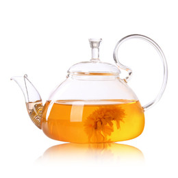 Wholesale Heating Pot - 1PC 250ml Heat Resistant With High Handle Flower Coffee Glass Tea Pot Blooming Chinese Glass Teapots J1011-1
