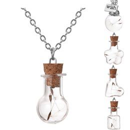 Wholesale Glass Vial Pendant For Necklace - Wholesale-Wishing Bottle Necklace Silver Plated with Natural Dried Dandelion Glass Vial Jar Handmade Choker Necklace Pendant for Women