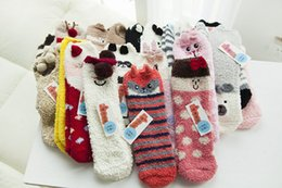 Wholesale Ladies Cashmere Socks - 120pairs Winter Women Socks Thicken Coral Cashmere Christmas Women Girl Socking Cute 3D Cat Bear Fox Casual Warm Ladies Soft Socks