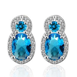 Wholesale Wholesale Nigerian Jewelry - Sapphire Earring Oval Blue Zircon Luxury Elegant Stud Earrings Nigerian Bead Earrings Top Quality Platinum Inlaid Crystal Jewelry Wholesale