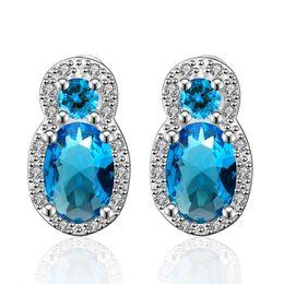 Wholesale Oval White Sapphire - Sapphire Earring Oval Blue Zircon Luxury Elegant Stud Earrings Nigerian Bead Earrings Top Quality Platinum Inlaid Crystal Jewelry Wholesale