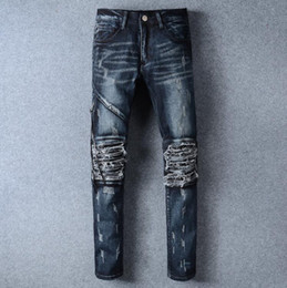 Wholesale Motorcycle Wear Brands - Senior 3 kinds of color design design brand 2017 men wear motorcycle crime slacks jeans 100% cotton with high quality. size 28 - 42
