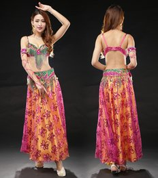 Wholesale High Quality Belly Dance - Bollywood Dance Costumes Lady High Quality Bra&Belt&Skirt Flashing Belly Dancing Wear Sexy Bellydance Skirt For Women
