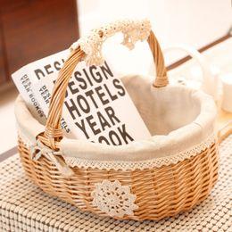 Wholesale Wicker Wholesalers - Handmade Wicker portable Basket Desktop Sundries Hot Sell Decorative Picnic Flower Fruits Baskets Best Storage Box Log Color 33yj J R