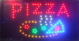 Wholesale Led Open Outdoor Sign - 2017 led pizza store open sign hot sale 10x19 inch semi-outdoor Ultra Bright flashing pizza store led sign