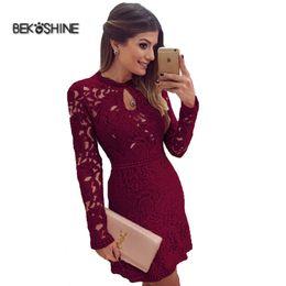 Wholesale Vestido Beige Casual - Wholesale- 2016 New Women Summer Dress Chiffon Lace Dress Long Sleeve Vestidos O-neck Sexy Casual Mini Dress Vestido de festa