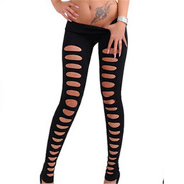 Wholesale Sexy Hole Leggings - Wholesale- High Quality Sexy Hollow Out Hole Fluorescent Candy Color Leggings(Black Green Pink Yellow White KH850108