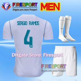 Wholesale 2018 New Real Madrid Adult Men Kits Soccer Jersey Full Set Ronaldo Bale Football uniforms SERGIO RAMOS ISCO Shirts with Socks