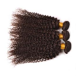 Wholesale machine for chocolate - Medium Brown Kinky Curly Virgin Human Hair 3 Bundles Color #4 Chocolate Brown Kinky Curly Hair Bundles For Black Woman