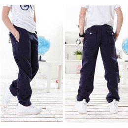 Wholesale Kids Boys Sweatpants - Free shipping Kids 5-11T Trousers for children Cotton Boy Sweatpants Gray and Navy children's wear Boys Casual pants