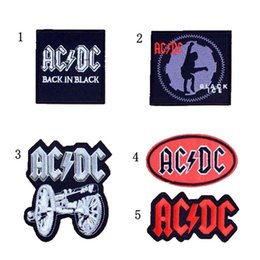 Wholesale Rock Band Patches - GP-66 New Arrival ACDC Iron On Patches circular Made of Cloth Guaranteed Quality Appliques sew on patch Hard ACDC punk rock band patches