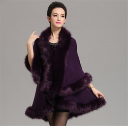 Wholesale Wool Cape Fur Collar - Women High Quality Fake Fox Fur Collar Wool Cashmere Poncho Capes Knitted Cardigan Womens Capes and Ponchos Fashion Fake Fox Fur Collar