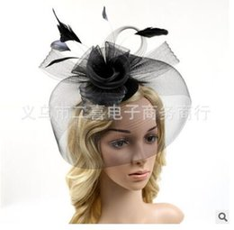 Wholesale Veil Flower Headdress - Married bridal veil floral hat headdress wedding party feast catwalk stage flowers gauze feather covered face head ornaments 7 colors