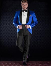 Wholesale Shiny Black Jackets For Men - Wholesale- New Tailored Groom Suits For Men Electric Shiny Satin Blue Tuxedo Jacket With Black Pants Custom Made(Jacket+Pants)