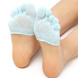 Wholesale Ankle Skid Socks - Wholesale- 2 Pair Half Foot Socks Finger Skid Peep Toe Pilates Ankle Durable High Heel Five Socks TQ