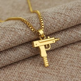Wholesale Metal Plates Necklace - 1pc Men's Metal Army Gun Rifle Chain Pendant Necklace Men Accessories for boyfriend birthday gift free shipping