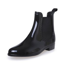 Wholesale Jelly Color Boots - Wholesale-High quality Rubber Boots 2016 Waterproof Trendy Jelly Women Ankle Rain Boot Elastic Band Solid Color Rainy Shoes Women 3 colors