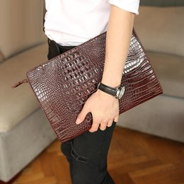 Wholesale envelope clutch men - 2017 Fashion Crocodile Grain Men Handbag Men Women Bag Leather Women's Envelope Clutch Evening Female Clutches Packet Free Shipping