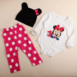 Wholesale Baby Boy Rompers Set - Wholesale- 3pcs Baby Boy Girls Kids Clothes Sets Cartoon Minnie Newborn Infant Hat Bodysuit Rompers Outfit Clothing Set 3 6 9 12 18 Monthes