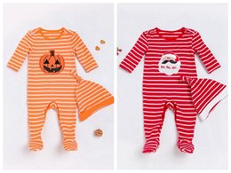 Wholesale Baby Chrismas - Newborn Infant Clothing Sets Baby Romper+Hat Set Halloween Pumpkin Print Chrismas Jumpsuit Long Sleeve Romper high quality Jumpsuit