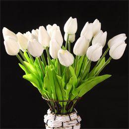 Wholesale Latex Tulips White - Wholesale- PHFU 10 pcs White Tulip Flower Latex For Wedding Bouquet KC456 - white