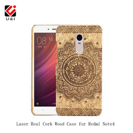 Wholesale Hongmi Cover Case - For Redmi Note 4 Real Cork Wood Case Flower Carving PC Back Protector Back Cover for Xiaomi Mi Hongmi Redmi Note 4 Note4