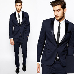 Wholesale Zipper Girdle - Wholesale- High Quality One Button Navy Blue Groom Tuxedos Groomsmen Men's Wedding Prom Suits Custom Made (Jacket+Pants+Girdle+Tie) K:89