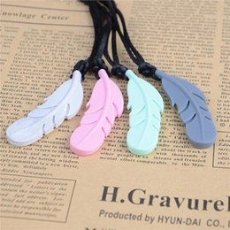 Wholesale Silicone Jewelry Baby - Fashionable Food Silicone Feather Beads Silicone Feather Teether Necklace With Strap DIY teething jewelry bracelets Pendant Baby new moms