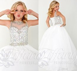 Wholesale Flower Pictures Color - 2017 Cheap Crystal White Ball Gown Flower Girl Dresses New Little Girls Pageant Dresses Plus Size dress for 12 Girls Party Dress