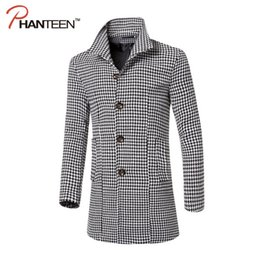 Wholesale Long Hooded Down Vests - Wholesale- Phanteen High Quality Houndstooth Men Woolen Coat Single Breasted Turn-down Collar Jackets Casual Trench Fashion Men Clothing