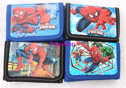 Wholesale Small Gift Cards Wholesale - 12Pcs Superhero Spider-Man Coin Purse Cute Kids Cartoon Wallet Bag Pouch Children Purse Small Wallet Party Birthday Gift