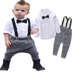 Wholesale Baby Boy Shirt Pants Suspenders - 2017 Spring Autumn Infant Baby Boys Gentleman Set Kids Bow Tie White Shirt + Suspender Pants 2pcs Outfits Children Clothing Suit