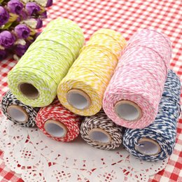Wholesale Twine Rope Wholesale - 1 Roll 100 Metres 2Ply Cotton Bakers Twine String Cord Rope Rustic Country Craft 9 Colors