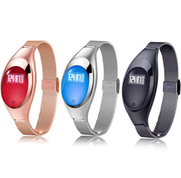 Wholesale Cheap Heart Rate Monitors - Z18 Fashion Waterproof Metal Smart Band Blood Pressure Heart Rate Monitor Wrist Watch For IOS Android Women Gift Wholesale Cheap DHL Fast