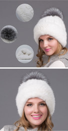 Wholesale Mink Hat Grey - New fashion natual real mink fur hat for women winter knitted mink fur beanies cap With lining with silver fox fur pom pom