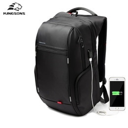 Wholesale 17 Laptop Computer Bag - Wholesale- Kingsons Brand External USB Charge Computer Bag Anti-theft Notebook Backpack 15 17 inch Waterproof Laptop Backpack for Men Women