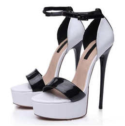 Wholesale Trendy Platform Heels - Wholesale sexy trendy White and Black Shiny Patent Platform Stiletto High heel 16cm Sandals for women summer evening party size 37 to 46
